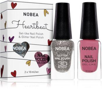 NOBEA Heartbeat комплект цветен и бляскав лак за нокти