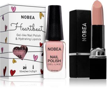 NOBEA Heartbeat conjunto de esmalte de uñas y barra de labios hidratante Pure Nude tono