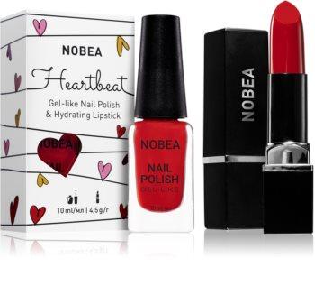 NOBEA Heartbeat комплект лак за нокти и хидратиращо червило Festive Red цвят