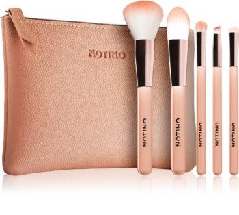 Notino Glamour Collection Travel Brush Set with Pouch zestaw podróżny pędzli z kosmetyczką dla kobiet
