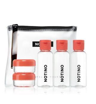 Notino Travel reisset met 5 lege flesjes en potjes in een tasje CORAL