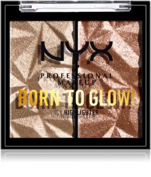 NYX Professional Makeup Born To Glow Icy Highlighter paleta rozjasňovačů