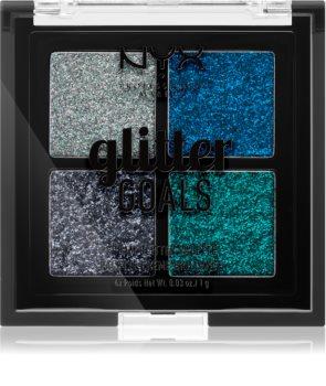 NYX Professional Makeup Glitter Goals Palette mit gepresstem Glitter kleine Packung
