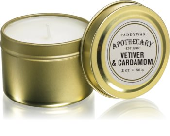 Paddywax Apothecary Vetiver & Cardamom scented candle in tin