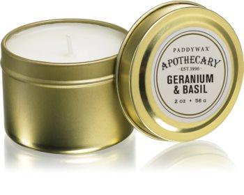 Paddywax Apothecary Geranium & Basil bougie parfumée en métal
