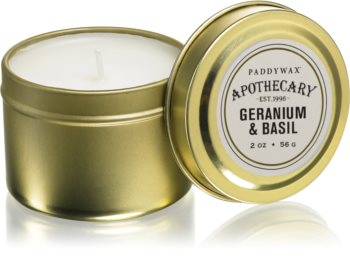Paddywax Apothecary Geranium & Basil vonná svíčka v plechovce