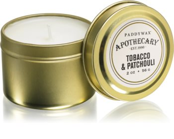 Paddywax Apothecary Tobacco & Patchouli scented candle in tin