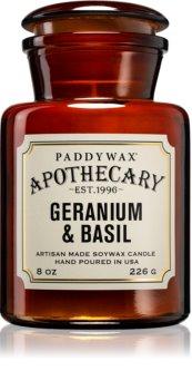 Paddywax Apothecary Geranium & Basil bougie parfumée