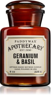 Paddywax Apothecary Geranium & Basil lumânare parfumată