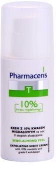 Pharmaceris T-Zone Oily Skin Sebo-Almond Peel crème de nuit régulatrice et purifiante pour restaurer la surface de la peau