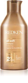 Redken All Soft Ravitseva Hiustenpesuaine Kuiville ja Hauraille Hiuksille