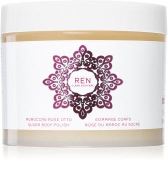REN Moroccan Rose vyživující tělový peeling s růžovým olejem