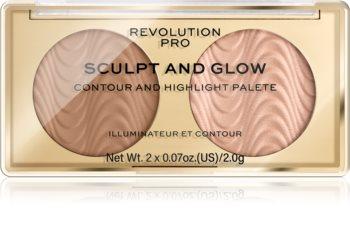 Revolution PRO Sculpt And Glow kontúrovacia paletka na tvár
