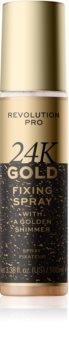 Revolution PRO 24k Gold rozświetlający spray utrwalający ze złotem
