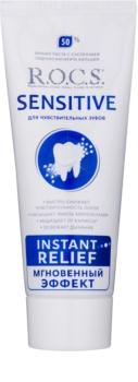 R.O.C.S. Sensitive Instant Relief dentífrico remineralizante de cálcio para dentes sensíveis