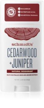 Schmidt's Cedarwood + Juniper festes Deo ohne Aluminiumsalze