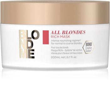 Schwarzkopf Professional Blondme All Blondes Rich подхранваща маска  за груба коса