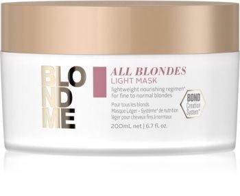 Schwarzkopf Professional Blondme All Blondes Light masca hranitoare pentru par fin si normal