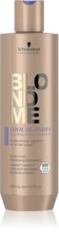 Schwarzkopf Professional Blondme Cool Blondes Shampoo zum Neutralisieren von Gelbstich für blondes und meliertes Haar