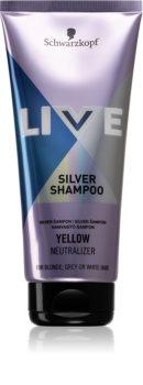Schwarzkopf LIVE Silver das Reinigungsshampoo neutralisiert gelbe Verfärbungen