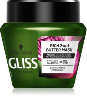 Schwarzkopf Gliss Rich 2-IN-1 Butter регенерираща маска  за чуплива коса