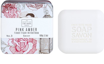 Scottish Fine Soaps Pink Amber sapone di lusso in contenitore di metallo