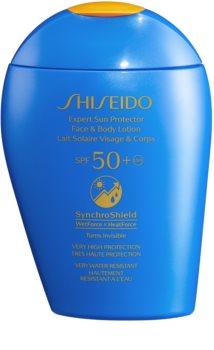 Shiseido Sun Care Expert Sun Protector Face & Body Lotion naptej arca és testre SPF 50+