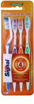 Signal Anti-Plaque Action Soft Toothbrushes, 4 pcs