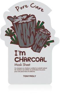 TONYMOLY I'm CHARCOAL Sheet Mask with Skin Smoothing and Pore Minimizing Effect