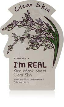 TONYMOLY I'm REAL Rice maschera viso illuminante in tessuto