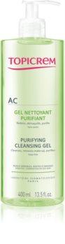 Topicrem AC Purifying Cleansing Gel mélyen tisztító gél zsíros és érzékeny bőrre