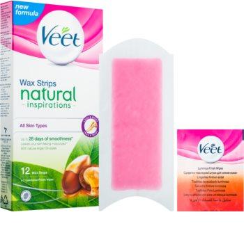 Veet Wax Strips Natural Inspirations™ plastry do depilacji woskiem z olejkiem arganowym