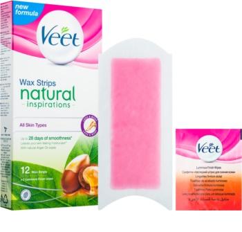 Veet Wax Strips Natural Inspirations™ восъчни ленти за епилация с арганово масло