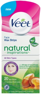 Veet Wax Strips Natural Inspirations™ strisce depilatorie con cera per il viso con olio di argan