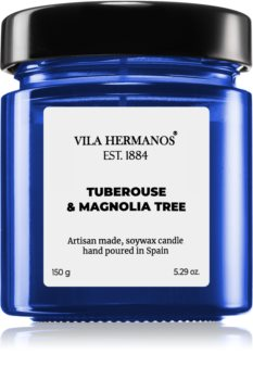 Vila Hermanos Apothecary Cobalt Blue Tuberose & Magnolia Tree bougie parfumée
