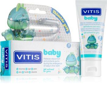 Vitis Baby Zahngel für Kinder + Kinderzahnbürste zum Aufstecken auf den Finger