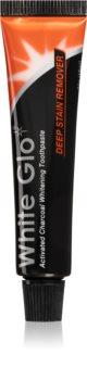 White Glo Charcoal bleichende Zahnpasta mit Aktivkohle unterwegs