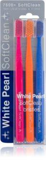 White Pearl 7600+ SoftClean brosses à dents soft 3 pcs