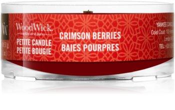 Woodwick Crimson Berries mala mirisna svijeća bez staklene posude s drvenim fitiljem