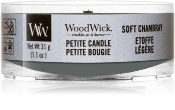 Woodwick Soft Chambray votiefkaarsen met een houten lont