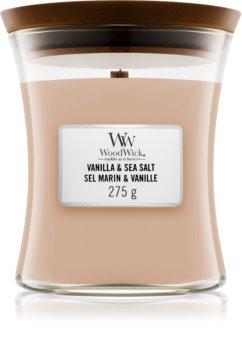 Woodwick Vanilla & Sea Salt candela profumata con stoppino in legno