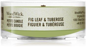 Woodwick Fig Leaf & Tuberose votivna sveča z lesenim stenjem