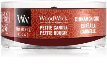 Woodwick Cinnamon Chai mala mirisna svijeća bez staklene posude s drvenim fitiljem