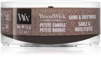 Woodwick Sand & Driftwood candela votiva con stoppino in legno
