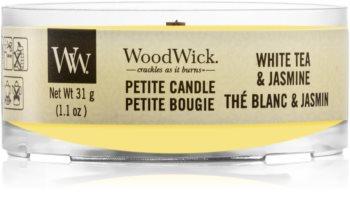 Woodwick White Tea & Jasmine votivna sveča z lesenim stenjem