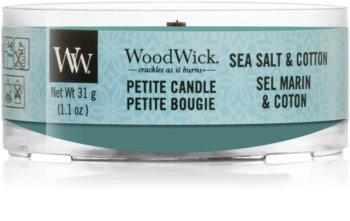 Woodwick Sea Salt & Cotton votívna sviečka s dreveným knotom