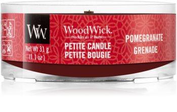 Woodwick Pomegranate mala mirisna svijeća bez staklene posude s drvenim fitiljem