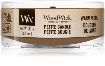 Woodwick Warm Wool votivna sveča z lesenim stenjem