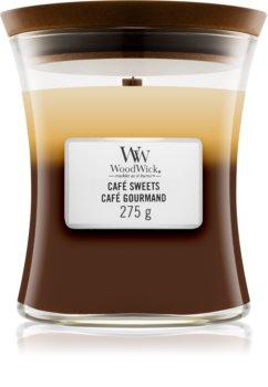 Woodwick Trilogy Café Sweets illatos gyertya  fa kanóccal