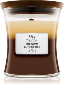 Woodwick Trilogy Café Sweets ароматна свещ  с дървен фитил